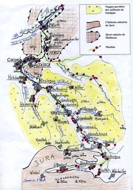 Carte des moulins du Sundgau (haute vallée de l'Ill) par Guy Meyer